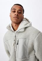 Cotton On - Pocket teddy zip thru - light grey