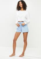 Blake - Long sleeve rib shorts sleep set - milk & blue