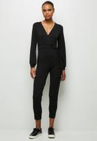 edit - Balloon sleeve wrap jumpsuit - black