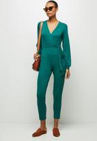 edit - Balloon sleeve wrap jumpsuit - green