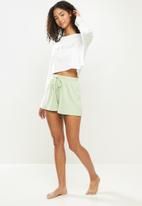 Blake - Long sleeve rib shorts sleep set - milk & pale green