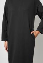 VELVET - Brushed fleece long line sweat shirt dress - black
