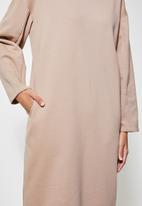 VELVET - Brushed fleece long line sweat shirt dress - beige