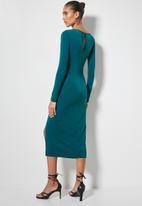 VELVET - Drawstring side ruching knit dress - blue
