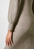 VELVET - Soft touch square neck midi column dress - taupe