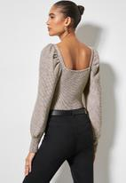 VELVET - Square neck soft touch puff sleeve top - taupe
