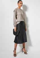 VELVET - Brushed knit panel shoulder tuck styled top - taupe