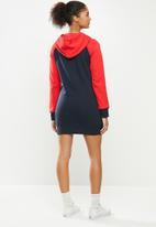 Aca Joe - Hoodie pocket dress - navy & red