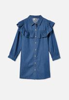 Cotton On - Lara frill dress - retro blue wash