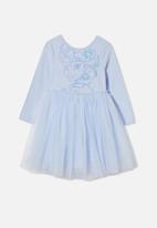 Cotton On - License ivy long sleeve dress - lcn dis/morning blue/elsa