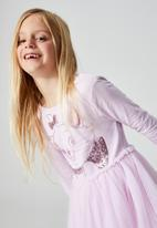 Cotton On - License ivy long sleeve dress - lcn dis/pale violet/aristocats