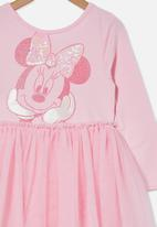Cotton On - License ivy long sleeve dress - lcn dis/cali pink/minnie mouse