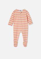 Cotton On - The long sleeve zip romper - retro coral/papaya/dark vanilla keanan stripe