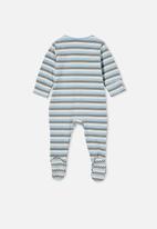 Cotton On - The long sleeve zip romper - skye haze/silver sage/dark vanilla keananstri