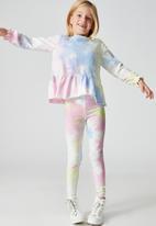 Cotton On - Bridget long sleeve frill top - rainbow tie dye