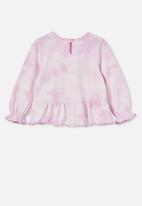Cotton On - Bridget long sleeve frill top - pale violet/tie dye