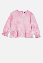 Cotton On - Bridget long sleeve frill top - pink gerbera/ tie dye