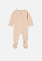 Cotton On - The long sleeve zip romper - pale peach