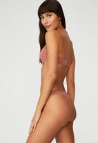 Cotton On - Everyday mesh high cut g string brief - wood rose