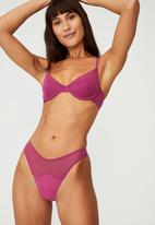 Cotton On - Everyday mesh high cut g string brief - raspberry orchid