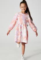 Cotton On - Flora long sleeve dress - dusty pink & purple