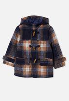 Cotton On - Lennon duffle coat - navy & brown