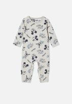 Cotton On - The long sleeve snap romper lcn - grey