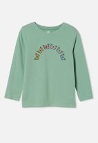 Cotton On - Penelope long sleeve tee - smashed avo/ rainbow butterflies
