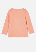 Cotton On - Penelope long sleeve tee - musk melon/respect