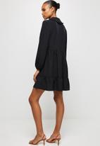 MILLA - Collared drop waisted mini dress - black