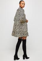 MILLA - Collared drop waisted mini dress - neutral & black