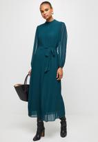 MILLA - Pleated chiffon dress - blue