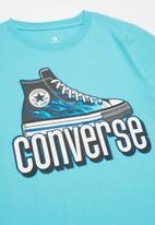 Converse - Cnvb warped checker sneaker tee - light blue