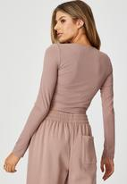 Factorie - Long sleeve pull front top - dirty blush