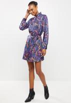 Vero Moda - Amber long sleeve high-neck dress - multi