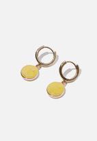 Rubi - Ear party luxe huggie hoops - lcn smiley yellow