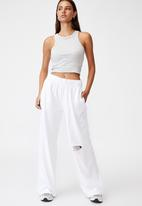 Factorie - Wide leg trackpant - white