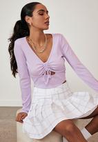 Factorie - Ls ruched cut out top - pale violet