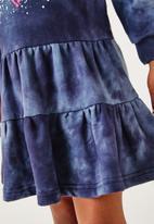 Flyersunion - Spectradye tiered fleece dress - navy