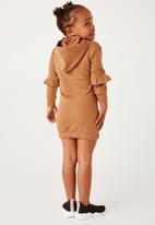 Flyersunion - Brushed fleece hoodie dress - tan