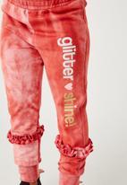 Flyersunion - Ub fleece spectra-dye frill jogger - blush