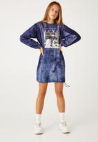 Flyersunion - Ub fleece spectra-dye drawstring dress - navy