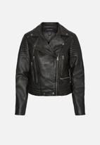 Vero Moda - Shila short leather jacket - black