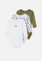 name it - 3 Pack bodysuits - khaki & white