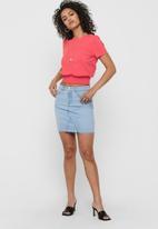 ONLY - Fan skirt raw edge - light blue