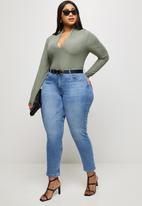 MILLA - Ribbed V-neck bodysuit - green