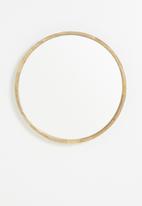Sixth Floor - Round wooden frame mirror - 60cm