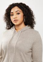 Blake - Cut & sew hoodie cropped - beige