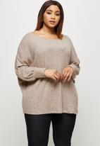 edit Plus - Long sleeve  slouchy ribbed tee - taupe