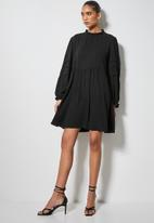 VELVET - Peached pintuck babydoll mini dress -black